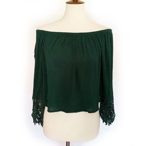 3/2 AMBIANCE | Off The Shoulder Bell Sleeve Crop